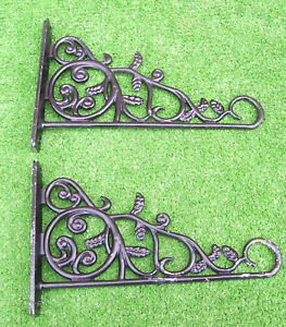 2pc Vintage Distressed Cast Aluminum Scroll Leaves Wall Plant Hanger Bracket Lot