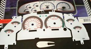 1996 1998 Ford Mustang Gt V8 White Face Glow Through Gauges With Red Accent