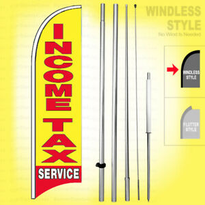 Income Tax Service Windless Swooper Flag Kit 15 Feather Banner Sign Yb h