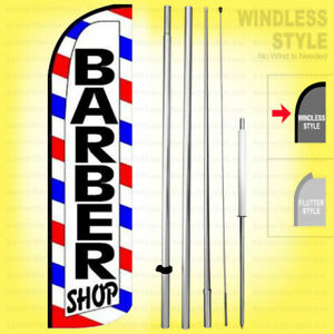 Barber Shop Windless Swooper Flag Kit 15 Feather Banner Sign Wq008 h