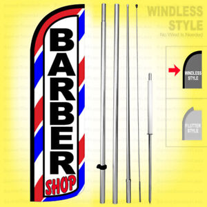Barber Shop Windless Swooper Flag Kit 15 Feather Banner Sign Wq28 h