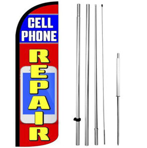 Cell Phone Repair Windless Swooper Flag Kit 15 Feather Banner Sign Rz h