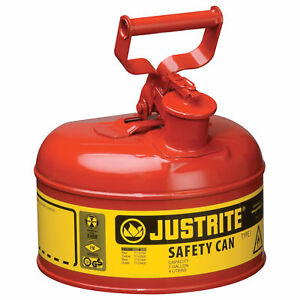 Justrite Type I Safety Fuel Can 1 gal Red 7110100