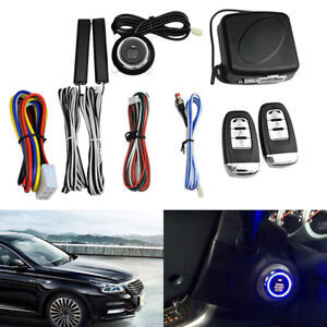9pcs Start Push Button Remote Starter Keyless Entry Car Suv Alarm System