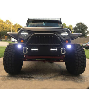 Rock Crawler Front Bumper W Winch Plate Led Lights For 07 19 Jeep Wrangler Jk