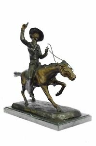 Frederic Remington Cowboy Mounted On Horse Marble Base Figure Bronze Sculpture
