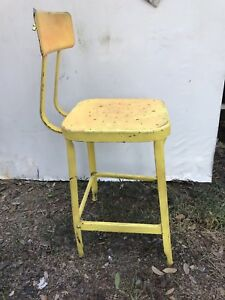 Vintage Lyon Industrial Drafting Stool Steampunk Bright Yellometal Chair Machine