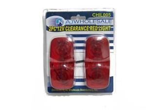 2 Pc Clearance Side Marker Light Truck Trailers Red 12 Volts Running Lights