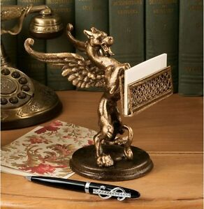 Detailed Gryphon Business Card Holder 19th Century Replica Desk Accessory