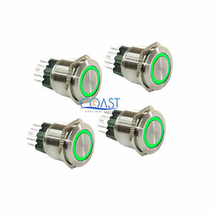 4x Durable 12v Led 25mm Car Push Button Green Angel Eye Metal Momentary Switch
