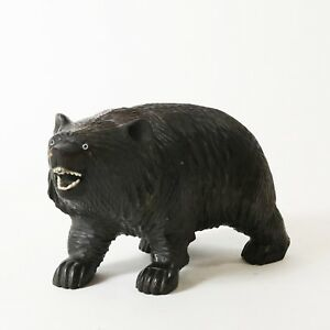 Antique Black Forest Swiss Brienz Bear Carved Wooden Teeth Figurine 6 5 Long
