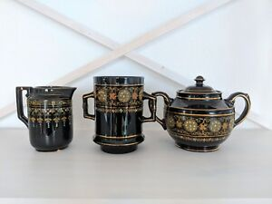 Antique Coffee Serving Set Gibson Sons Greek Border Porcelain Black Gold Hand
