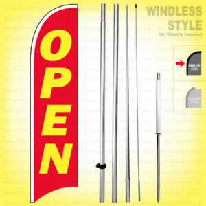 Open Windless Swooper Flag Kit 15 Feather Banner Sign Rb h