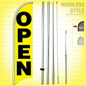 Open Windless Swooper Flag Kit 15 Feather Banner Sign Yb h