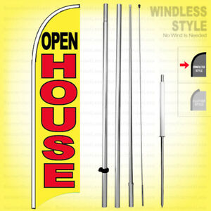 Open House Windless Swooper Flag Kit 15 Feather Banner Sign Yb h