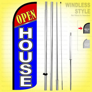 Open House Windless Swooper Flag Kit 15 Feather Banner Sign Bq h