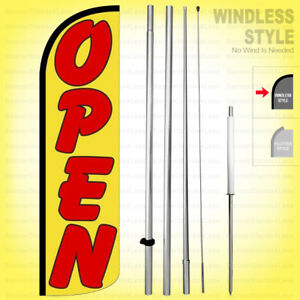 Open Windless Swooper Flag Kit 15 Feather Banner Sign Yq55 h