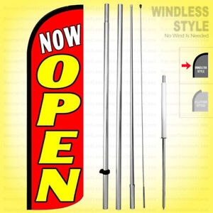 Now Open Windless Swooper Flag Kit 15 Feather Banner Sign Rq108 h