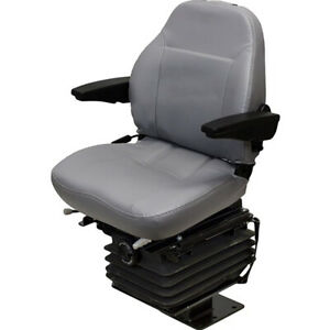 Fold down Gray Vinyl Seat With Armrests For Case Backhoe 580