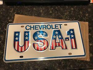 1969 60 s 70 s Chevy Usa 1 Dealership Showroom Vanity Plate License Vintage Nos