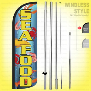 Seafood Windless Swooper Flag Kit 15 Feather Banner Sign Bq75 h