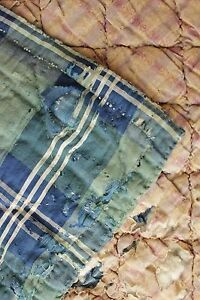 Quilt Antique French Plaid 18th And 19th Century Fabric Green Blue Plaid Baby