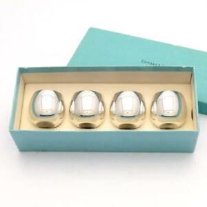 Vintage Tiffany 25005 Sterling Silver Shot Sake Cups Set Of 4 Clean Box No Mono
