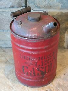 Vintage Antique Early Gas Can Circa 1900 10 Tall 1 Gallon Gasoline Oil