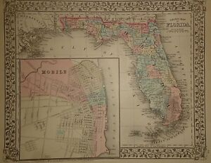 Vintage 1880 Florida Map Old Antique Original Atlas Map 18
