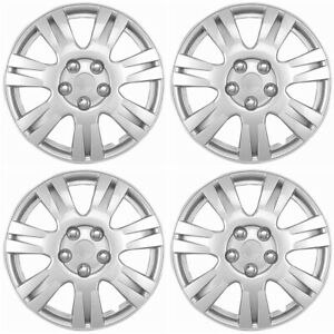 4 Pc Hubcaps Fits Select Car Truck Suv 15 Silver Replacement Wheel Rim Cover