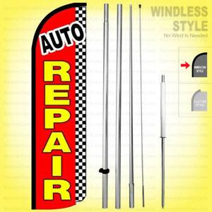 Auto Repair Windless Swooper Flag Kit 15 Feather Banner Sign Rq76 h