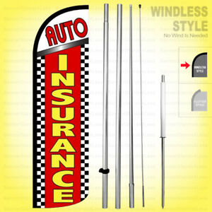 Auto Insurance Windless Swooper Flag Kit 15 Feather Banner Sign Rq18 h