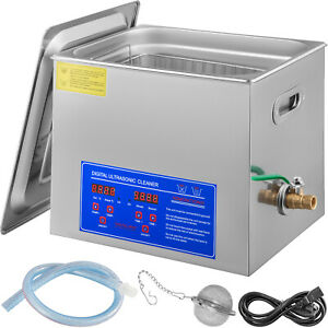 Stainless Steel 10l Industry Heated Ultrasonic Cleaner Heater W timer Updated