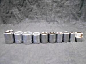 Lot Of 10 Craftsman Metric 12 Point 3 8 Drive Chrome Socket Mechanic Tools Usa