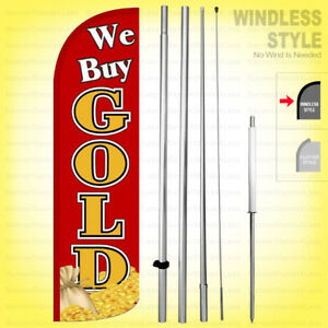 We Buy Gold Windless Swooper Flag Kit 15 Feather Banner Sign Rq h