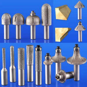 Vacuum Brazed Diamond Router Bits 1 2 Shank Rotary Cutter Grinding Marble Stone