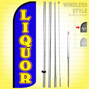 Liquor Windless Swooper Flag Kit 15 Feather Banner Sign Bq h
