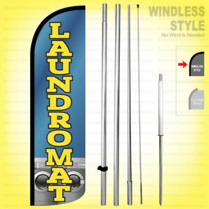 Laundromat Windless Swooper Flag Kit 15 Feather Banner Sign Bq h