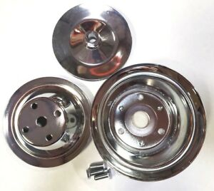 Sb Chevy 350 Long Pump Chrome Steel Pulley Kit W Upper Lower Power Steering
