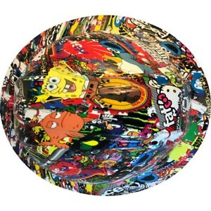 Sale Sticker Bomb Hydro Dipped Full Brim Hard Hat As Is Free Shipping