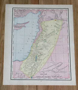 1910 Original Antique Map Of Ancient Palestine David Solomon Empire Bible Israel