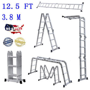 Multi Purpose Flexible Aluminum Ladder 12 5ft Fold Step Scaffold Extendable