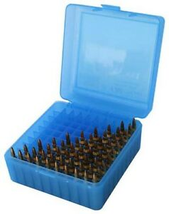 MTM RS10024 Ammo Box 100 Round Flip-Top 223 204 Ruger 6X47 Clear Blue