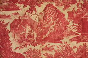 Antique French Toile L Art D Aimer Red Valance Bed Textile Hanging Valance 1790