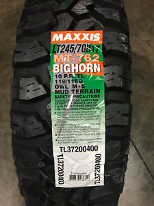 4 New Lt 245 70 17 Lre 10 Ply Maxxis Bighorn Mt 762 Mud Tires