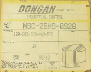 Dongan Nsc 26h9 0928 Transformer 250kva Primary 120 575v Secondary 24v