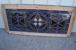 59619 Vintage Stained Glass Leaded Glass Window In Frame