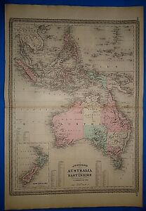 Vintage 1873 Australia East Indies Map Old Antique Original Johnsons Atlas Map