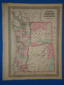 Vintage 1873 Oregon State Washington Territory Map Old Antique Original Map