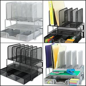 New Mesh Desk Organizer With Sliding Drawer Double Tray And 5 Upright Sections